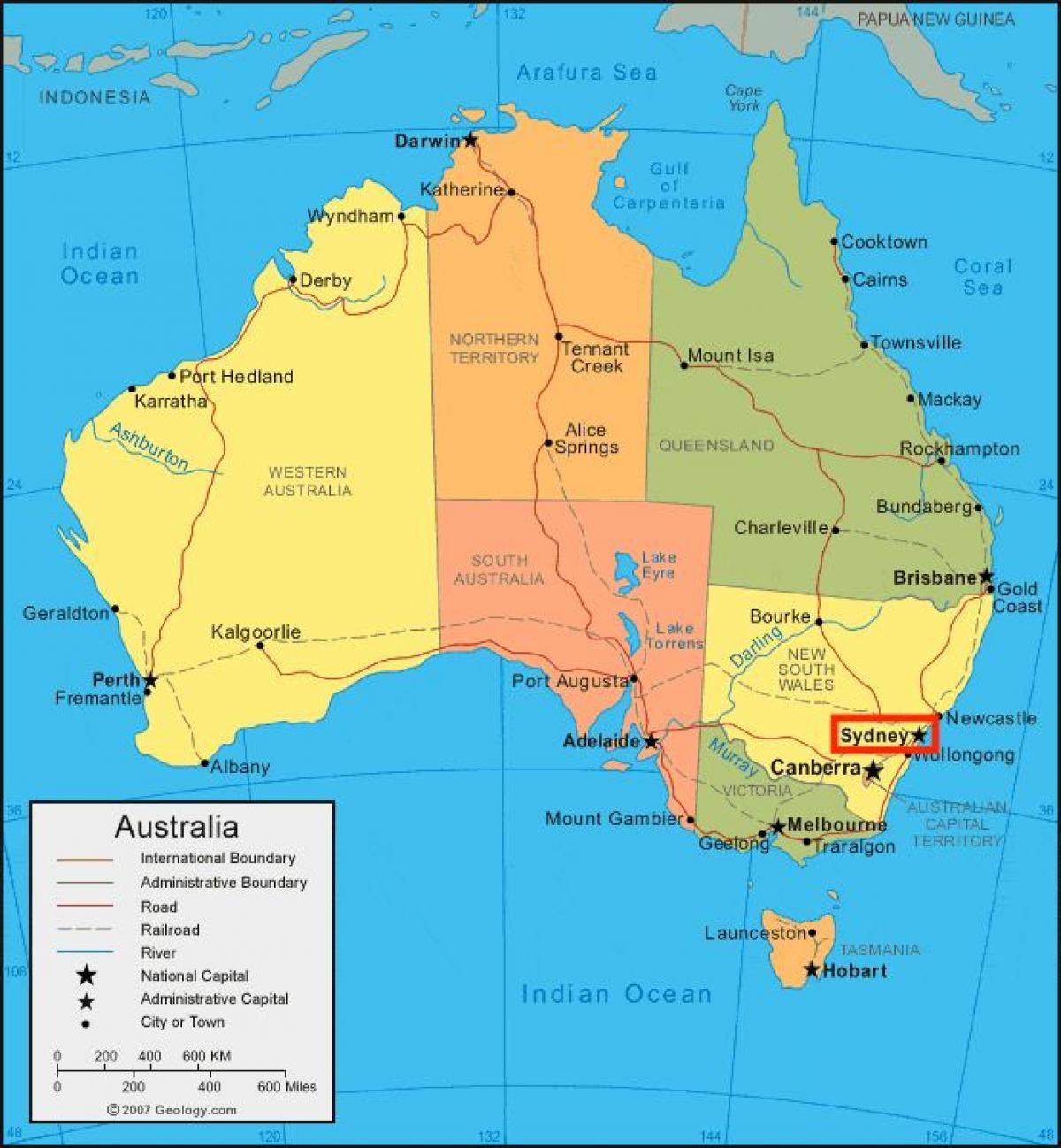 Sydney Australien Karta Karta Over Sydney Australien Australia