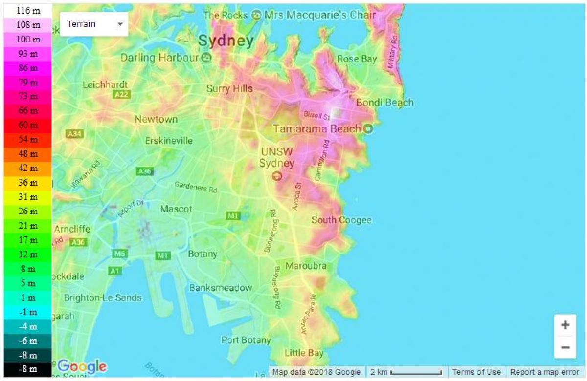 Sydney Topografisk Karta Topografisk Karta Sydney Australien